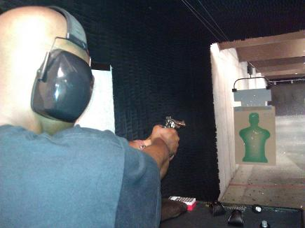 Revolver shooter on the firing line in Atlanta Handgun Skills and FUNdamentals class
