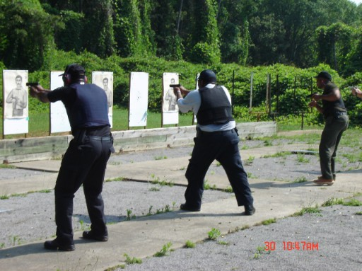 Instructor Leon S. Adams on the firing line running the sequence during Handgun Street Ready Skills