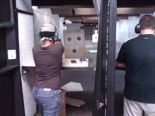 First time shooters on the firing line during Introduction to Handguns for Self Defense